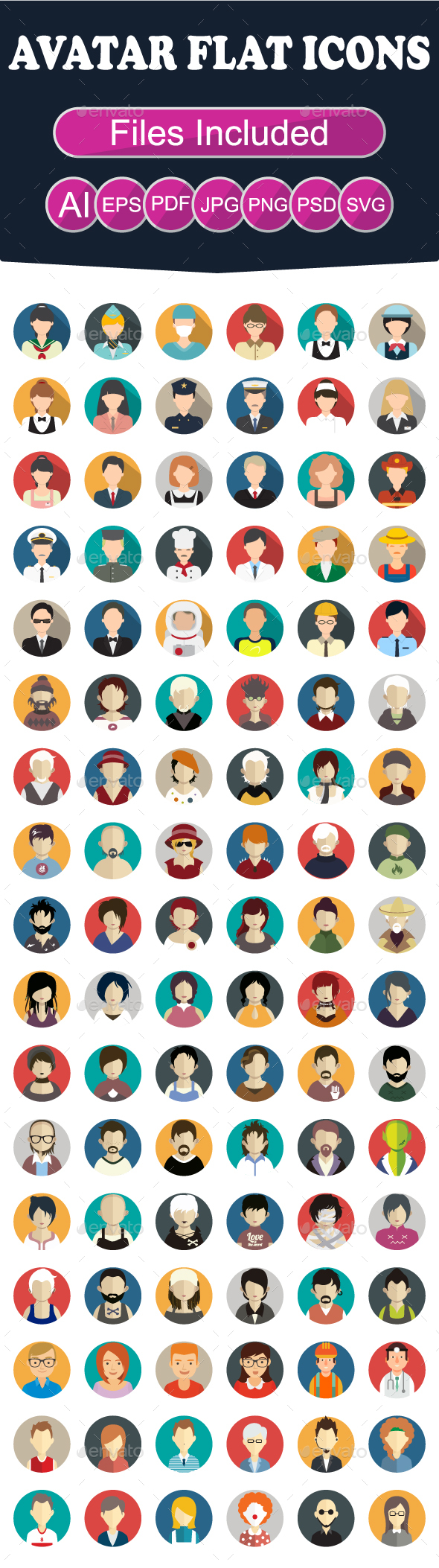 GraphicRiver Set of Avatar Flat Icons 21056664