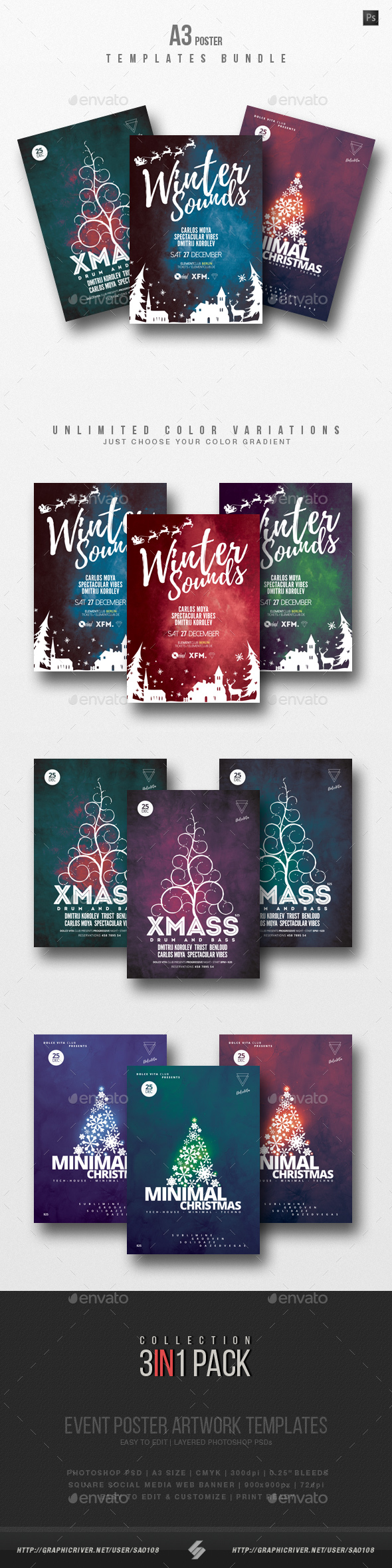 Winter Sound - Alternative Christmas Party Flyer Templates Bundle - Clubs & Parties Events