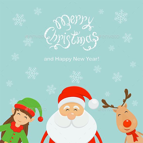 Merry Christmas and Santa with Elf and Reindeer - Christmas Seasons/Holidays