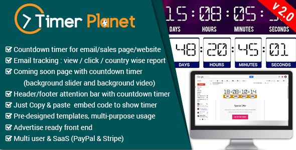 TimerPlanet - email,website & attention bar countdown timer - CodeCanyon Item for Sale