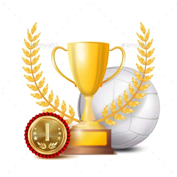 Volleyball Achievement Award Vector - Sports/Activity Conceptual