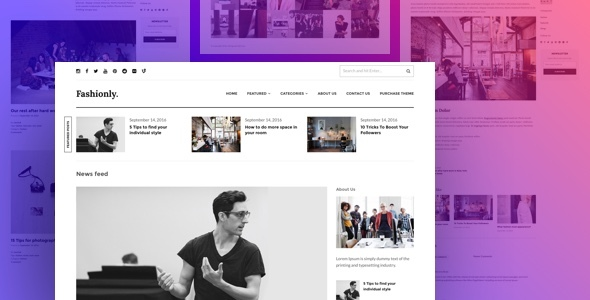Fashionly - Responsive WordPress Blog Theme - News / Editorial Blog / Magazine