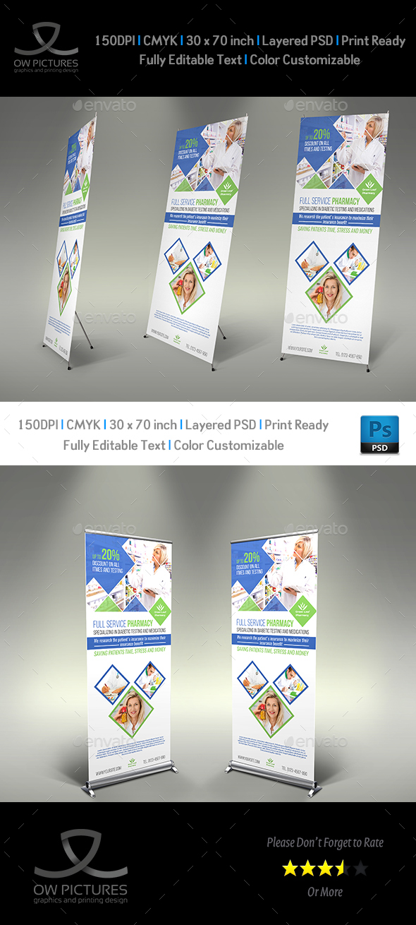 Pharmacy Signage Roll Up Banner Template Vol.2 - Signage Print Templates