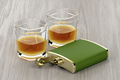 Green hip flask and glasses of whisky - PhotoDune Item for Sale