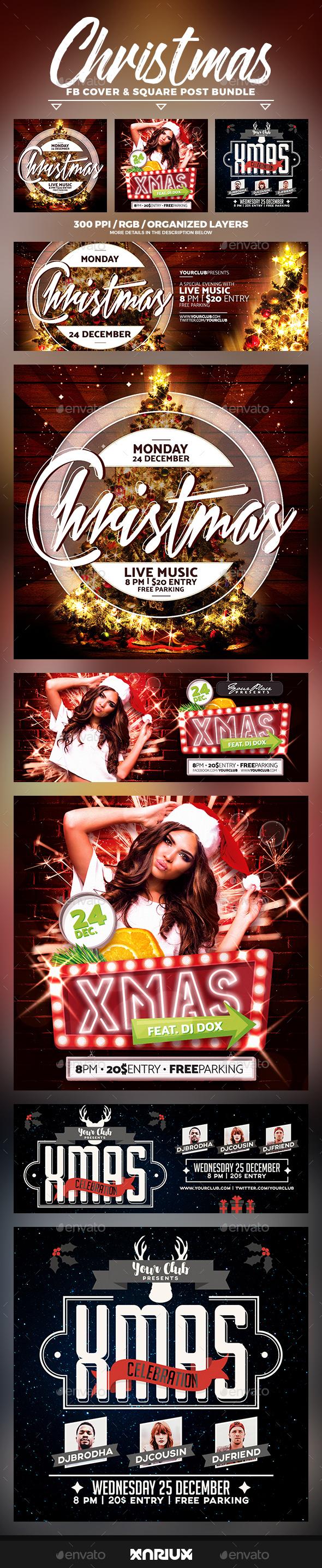 Christmas Party Facebook Cover Bundle - Social Media Web Elements
