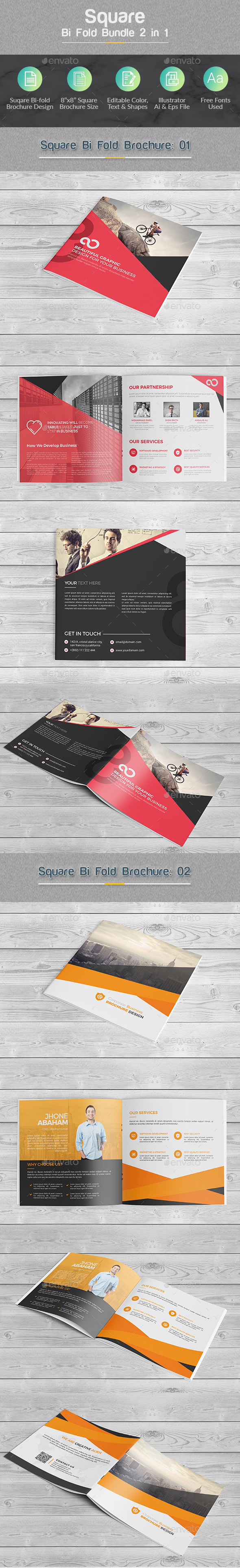 Square Bi-fold Brochure Bundle 2 in 1 - Corporate Brochures