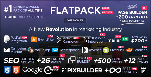 Image of FLATPACK – Landing Pages Pack With Page Builder