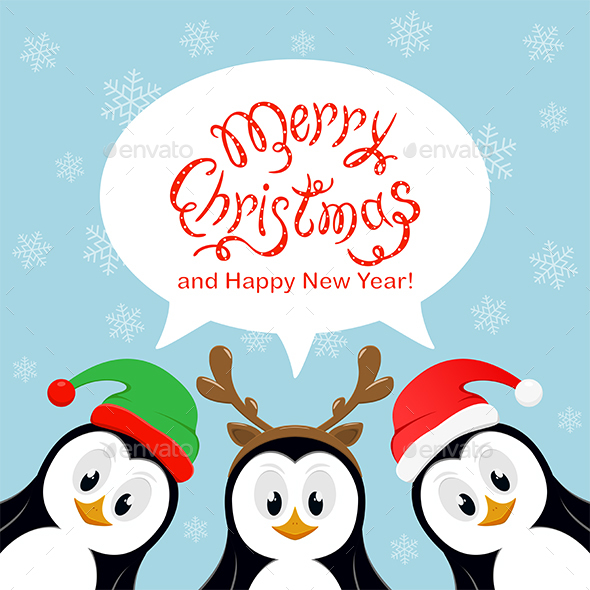 merry christmas penguins on blue background by losw graphicriver