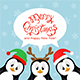 Merry Christmas Penguins on Blue Background