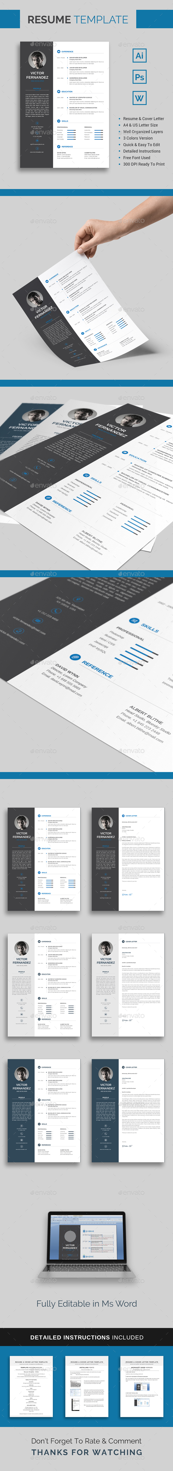 GraphicRiver Resume Template Victor 21033533