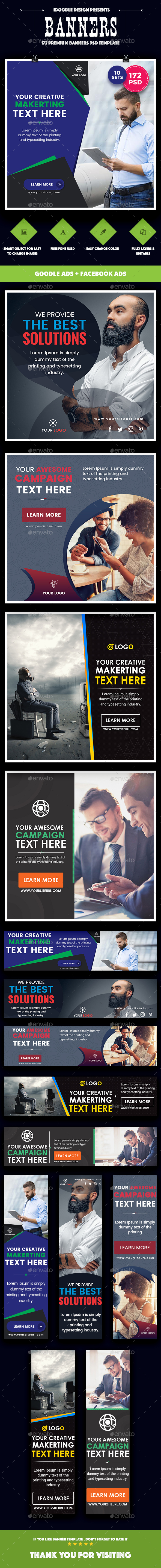 Bundle Multipurpose, Corporate, Business Banners Ad - 72PSD [ 10 Sets ] - Banners & Ads Web Elements
