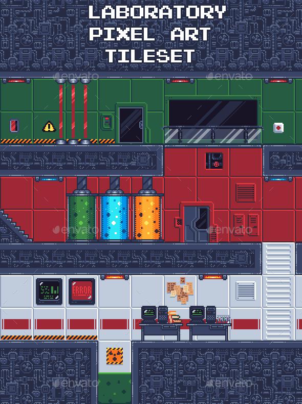 GraphicRiver Laboratory Pixel Art Tileset 21063046
