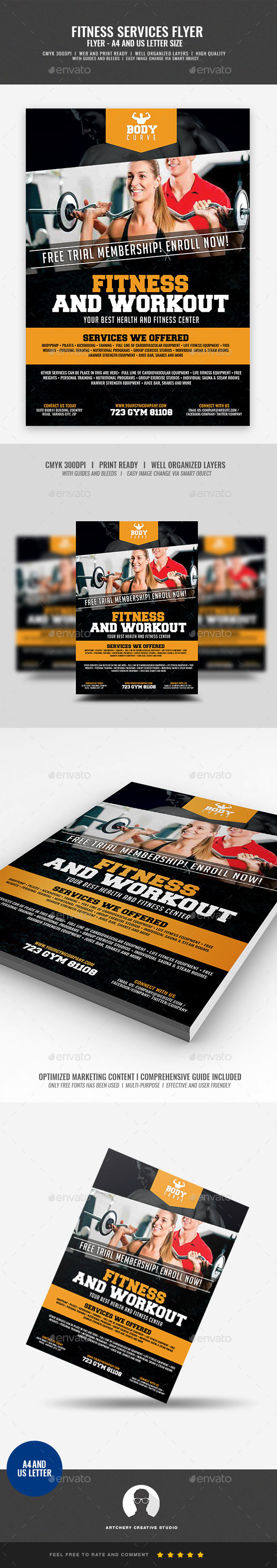 GraphicRiver Fitness and Workout Flyer 21046399
