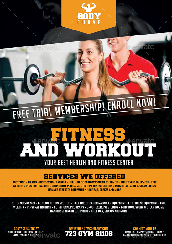fitness and workout flyer by artchery