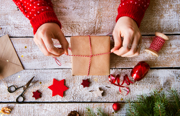 Christmas composition on a wooden background. - Stock Photo - Images