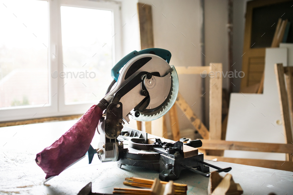 Electric tool in a carpenter workroom. - Stock Photo - Images