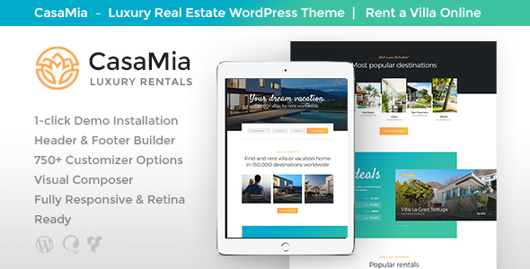 ThemeForest CasaMia Property Rental WordPress Theme 20992167