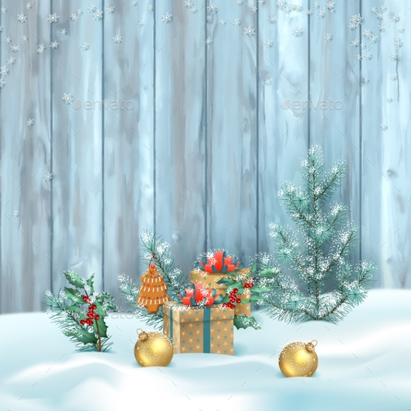 Vector Christmas Landscape - Christmas Seasons/Holidays