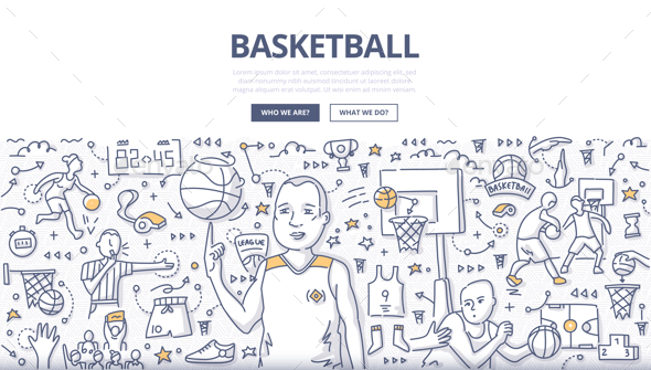 GraphicRiver Basketball Doodle Concept 21066934