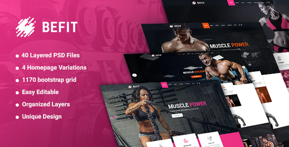 ThemeForest BeFit Gym & Fitness PSD template 21067047