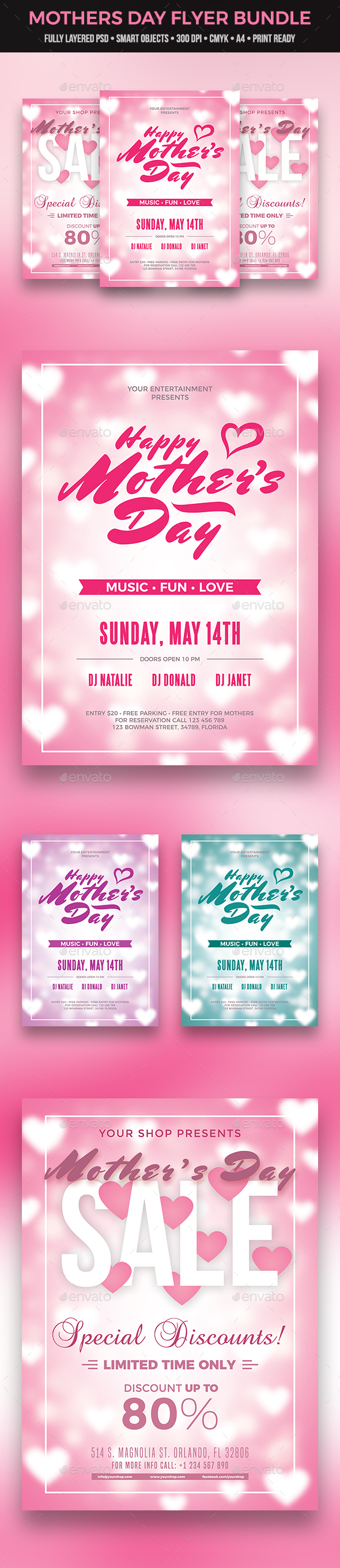 GraphicRiver Mothers Day Flyer Bundle 21067091