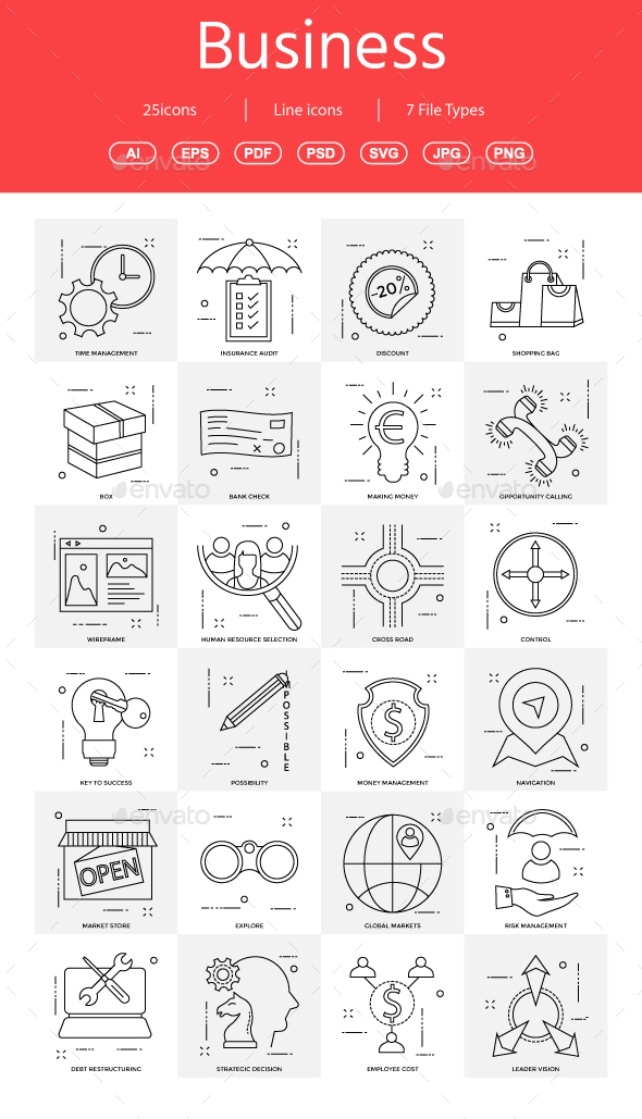 15+ Vector Business Illustration vol 16 - Business Icons