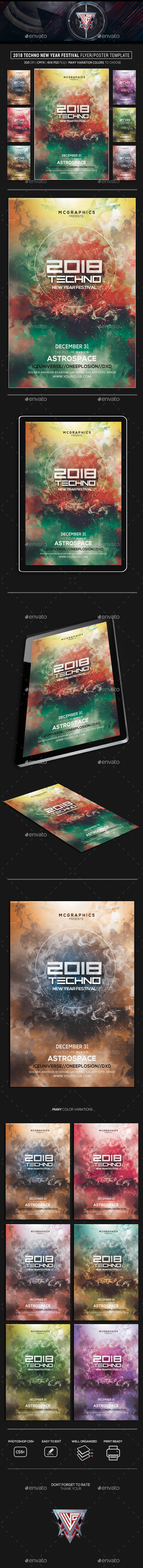 GraphicRiver 2018 Techno New Year Festival Flyer Poster Template 21042854