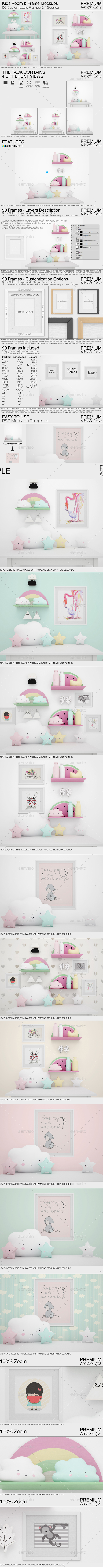 Kids Room & Frame Mockups - Print Product Mock-Ups