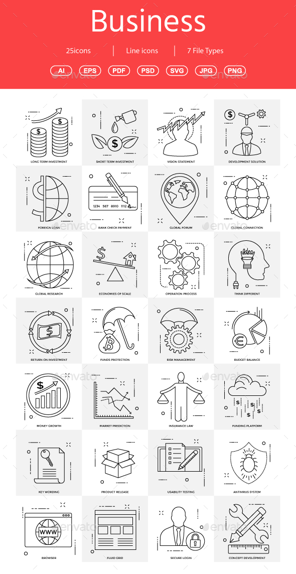 15+ Vector Business Illustration vol 17 - Business Icons