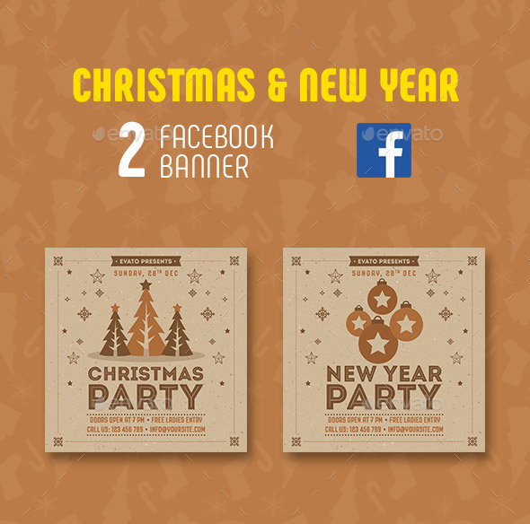 GraphicRiver Christmas & New Year Facebook Banner 21067338