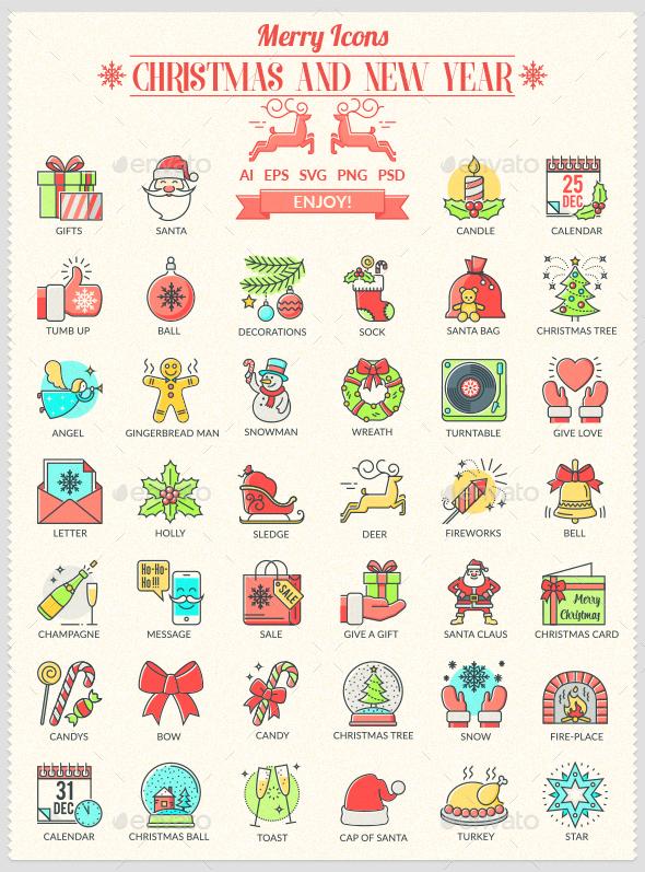 Christmas and New Year Icons - Seasonal Icons