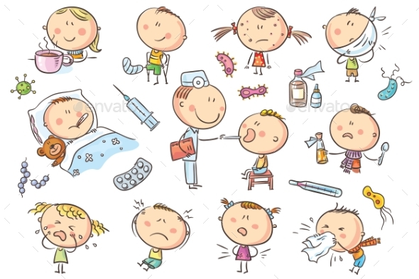 GraphicRiver Kids Feeling Unwell 21067520