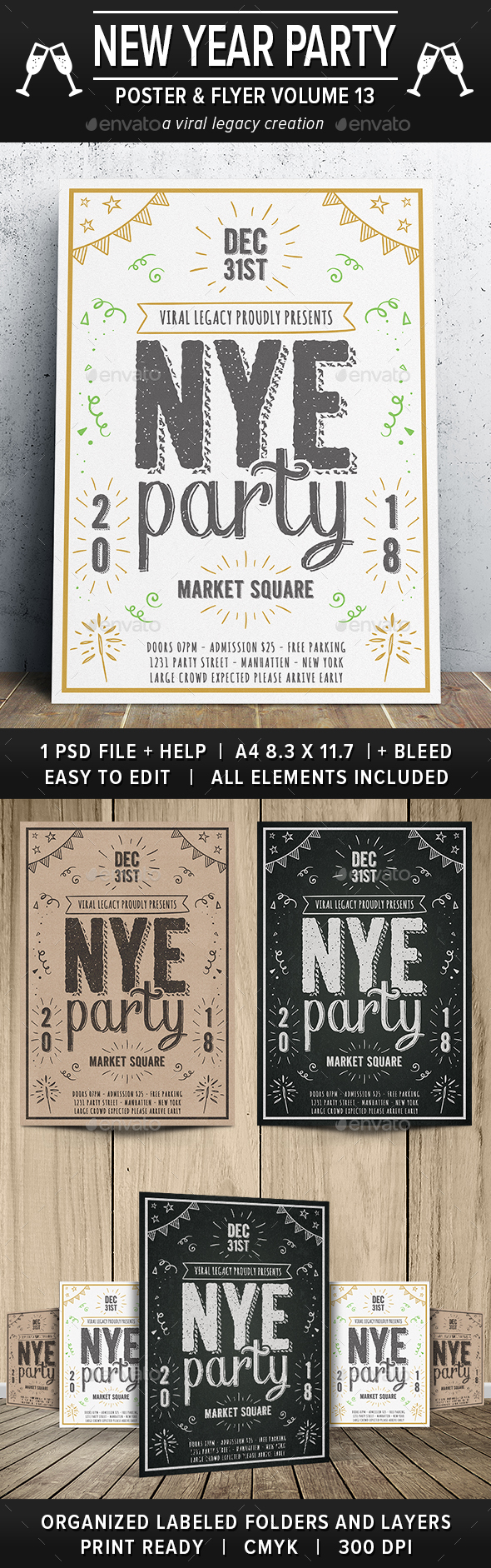 New Year Party Poster / Flyer V13 - Events Flyers