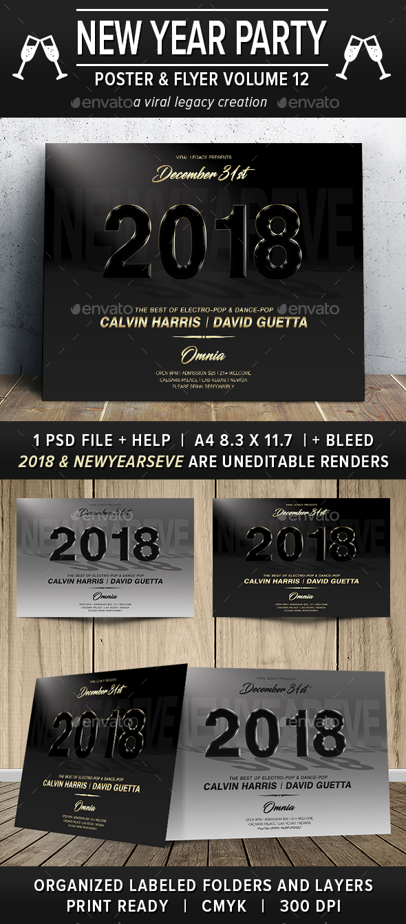 New Year Party Poster / Flyer V12 - Flyers Print Templates