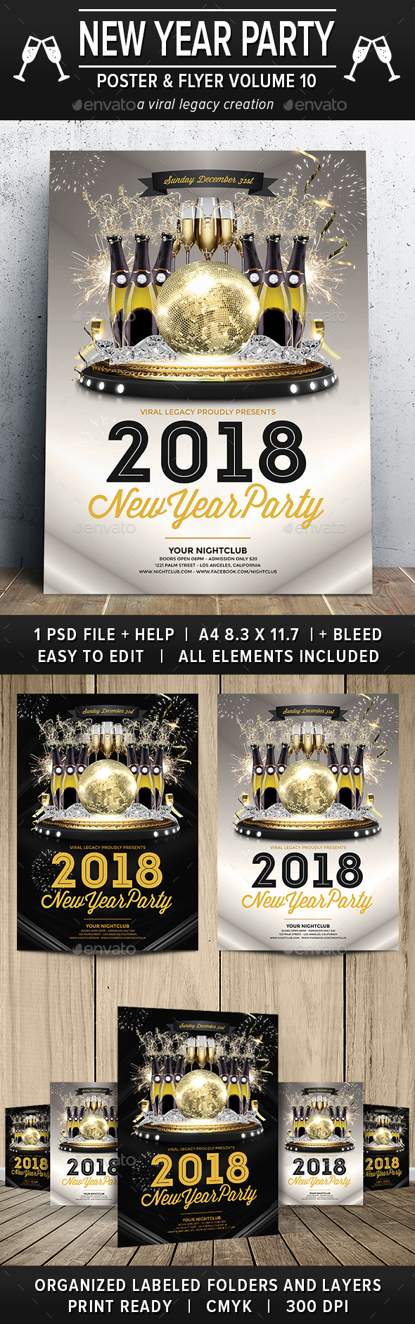 New Year Party Poster / Flyer V10 - Flyers Print Templates