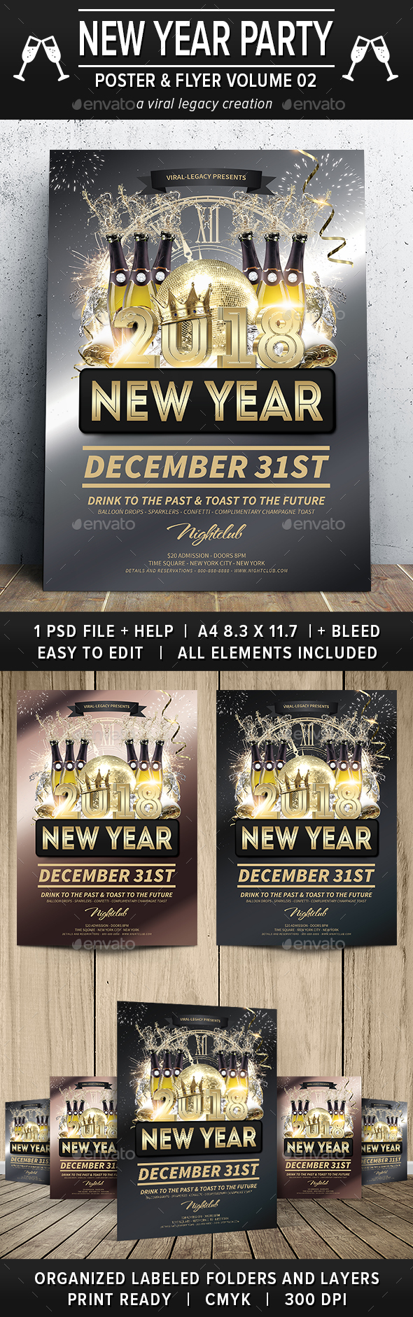 New Year Party Poster / Flyer V02 - Events Flyers