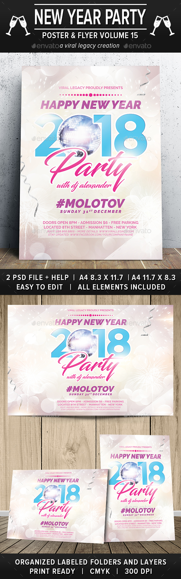 New Year Party Poster / Flyer V15 - Events Flyers