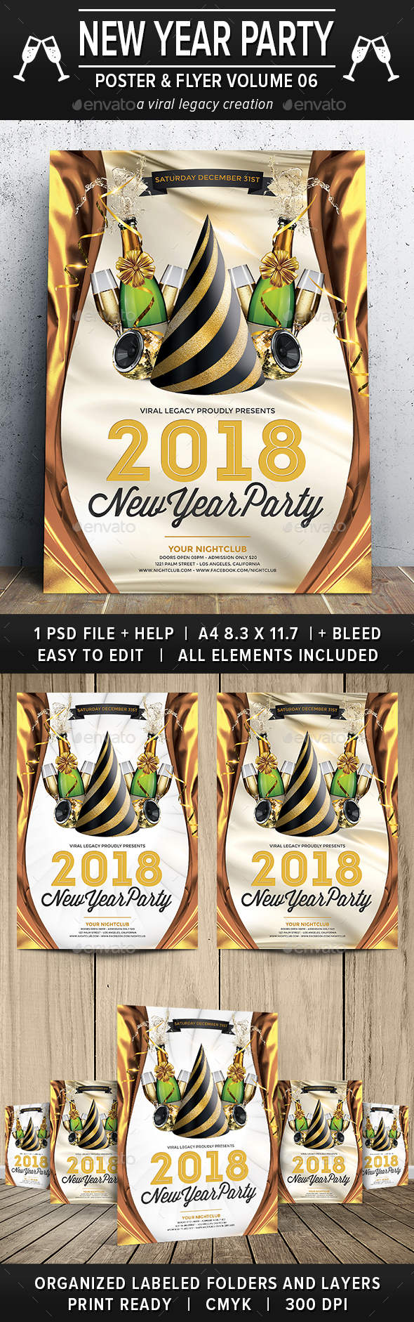 New Year Party Poster / Flyer V06 - Flyers Print Templates