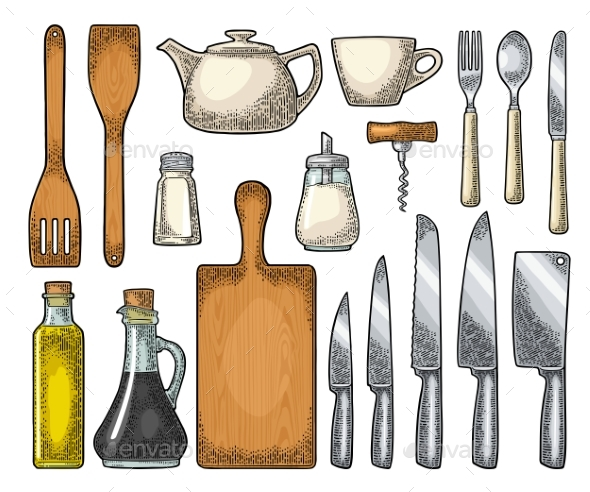 Set of Kitchen Utensils Vector Vintage Engraving - Food Objects