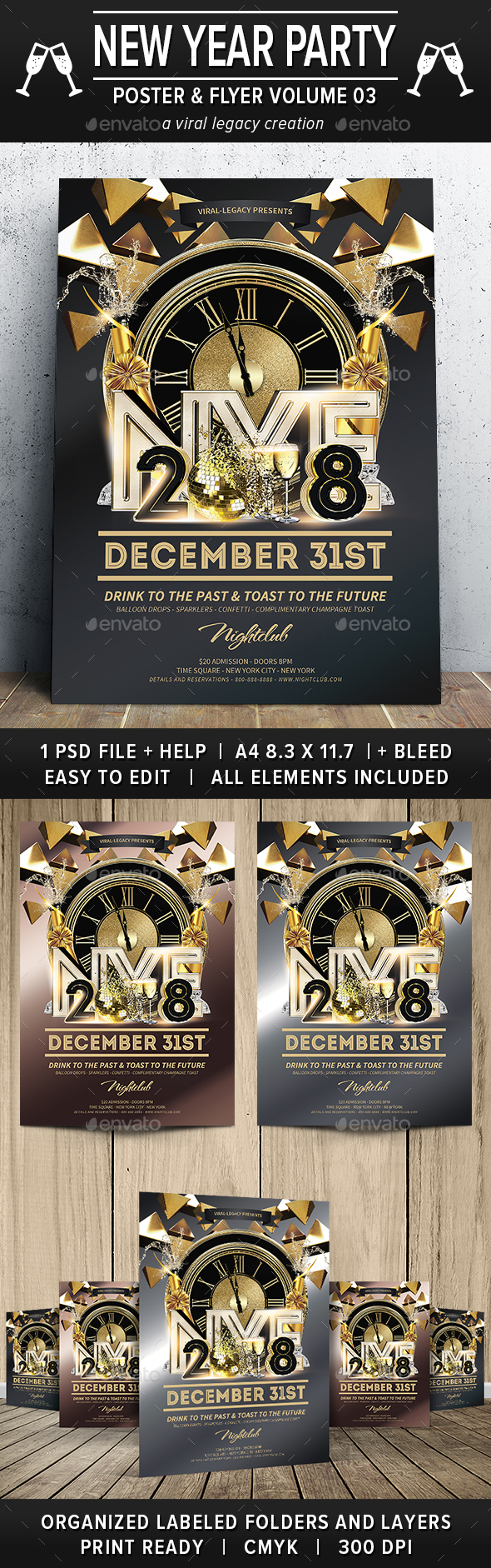 New Year Party Poster / Flyer V03 - Flyers Print Templates