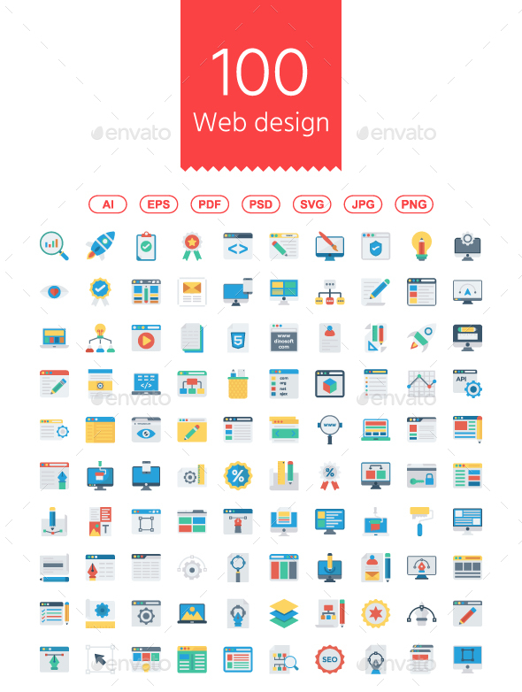 GraphicRiver 100 Web design & Programming Flat icons 21067682