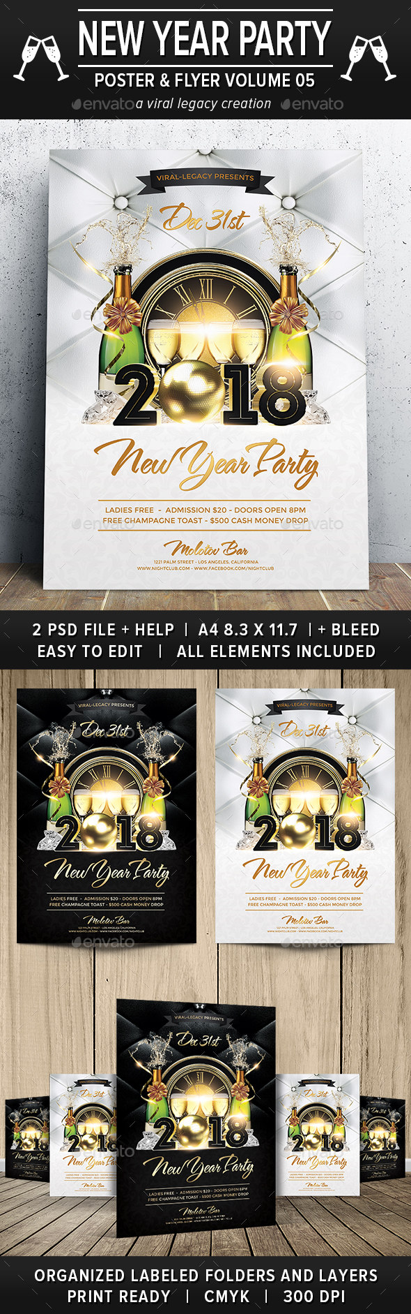 New Year Party Poster / Flyer V05 - Flyers Print Templates