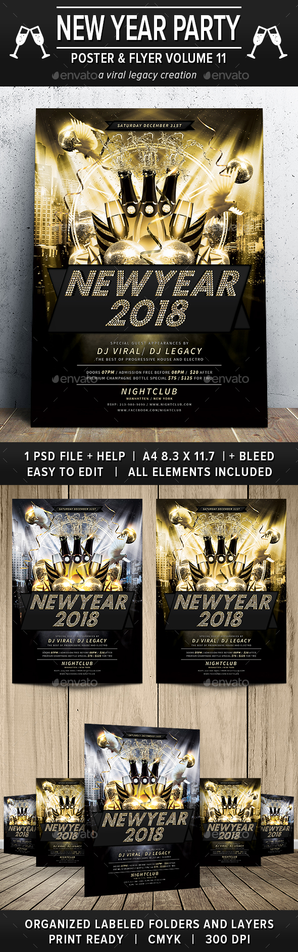 New Year Party Poster / Flyer V11 - Flyers Print Templates