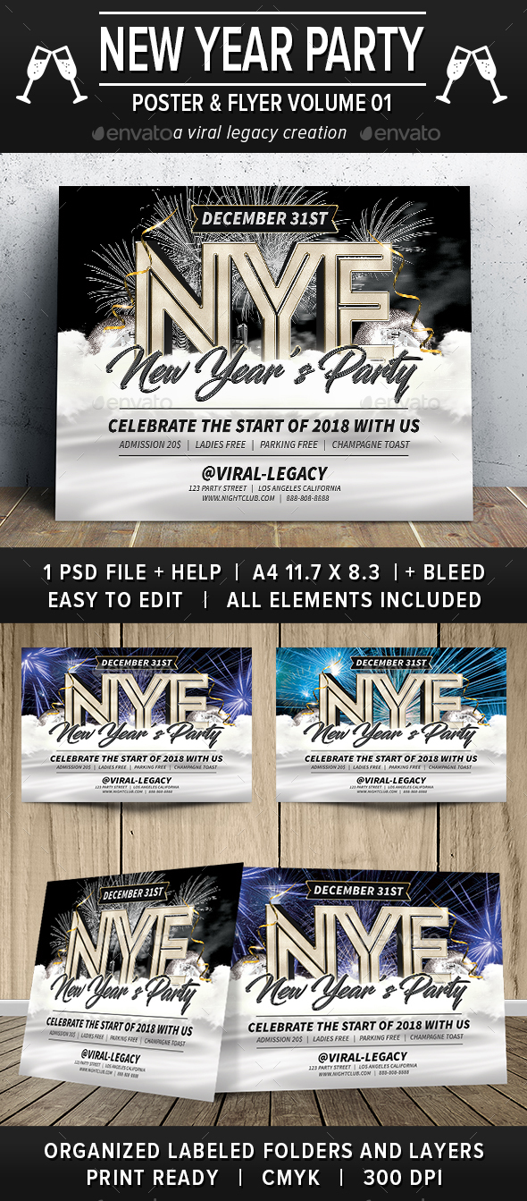 New Year Party Poster / Flyer V01 - Events Flyers