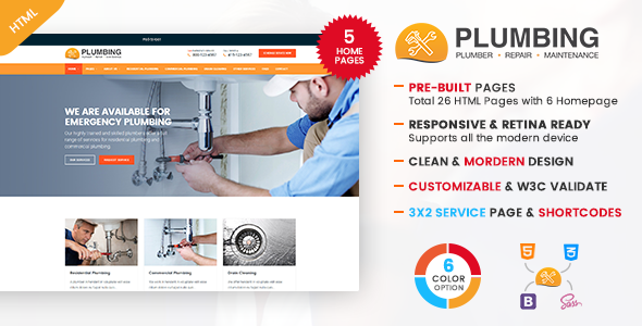 Plumbing - Plumber and Repair Services Template - Business Corporate