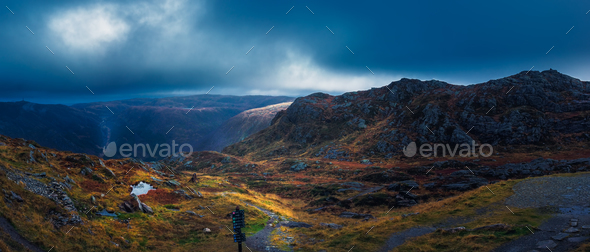 Dramatic panoramic landscape of mountains from Mount Ulriken - Stock Photo - Images