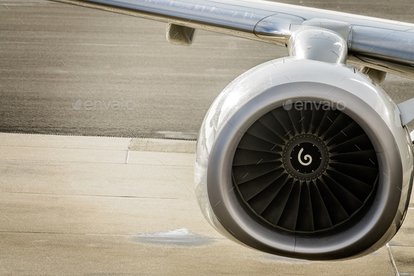 Close up shot of a jet engine - Stock Photo - Images