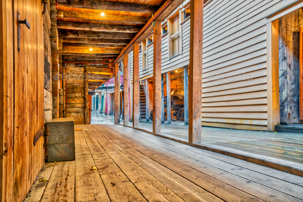 Historic wooden buildings in Bryggen - Stock Photo - Images