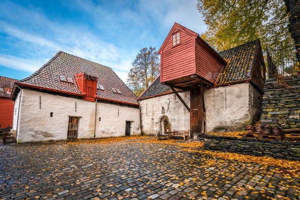 Historic colorful  buildings in Bryggen - Stock Photo - Images
