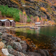 Three wooden huts on the shore of a fiord - PhotoDune Item for Sale